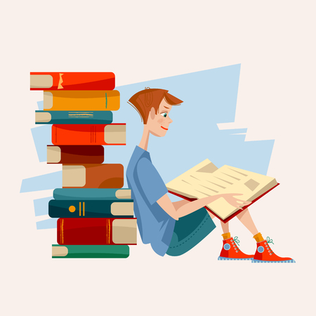 interested: A boy reads a book and a pile of books. Literacy Day. Vector illustration Illustration
