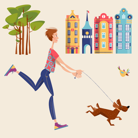 Man walks a dog in a city. Urban landscape. Illustration