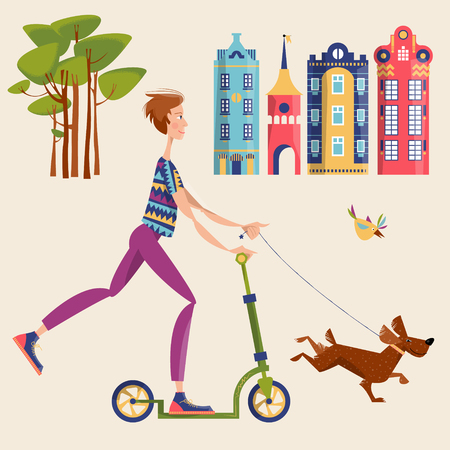 A man on a scooter walking a dog in a city. Illustration