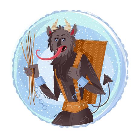 Krampus. Traditional christmas devil. Illustration