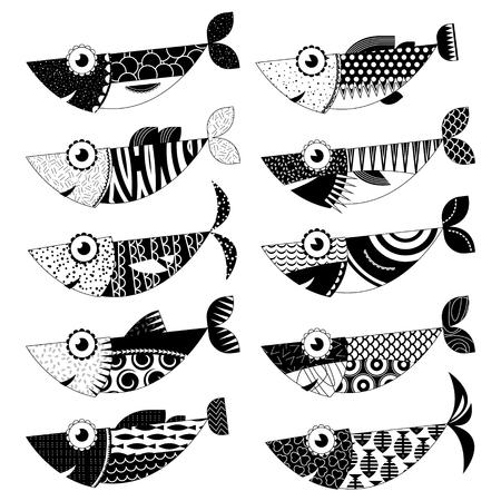 Set di 10 in bianco e nero pesci decorate. Sardine.