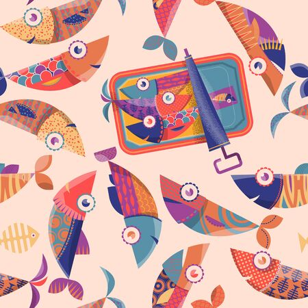 Can of sardines and multi-colored decorated fishes. Seamless background pattern. Illustration