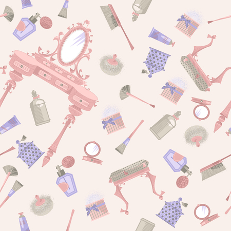hairbrush: Dressing table with a mirror and cosmetics. Retro style. Seamless background pattern. Illustration