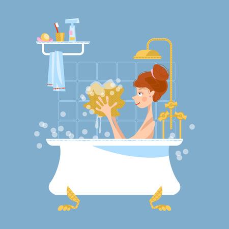 woman shower: Girl taking a bubble bath. Illustration