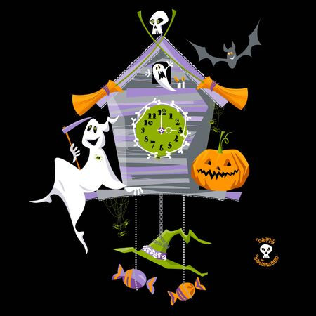 scary story: Cuckoo clock with ghost, pumpkin and skull. Halloween style.
