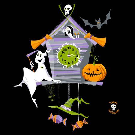 reloj cucu: reloj de cuco con el fantasma, la calabaza y el cráneo. estilo de Halloween.