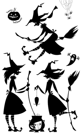 Group of three little conjuring witches. Witchcraft. Happy halloween. Black and white.