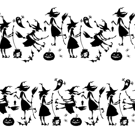 conjuring: Little conjuring witches. Witchcraft. Happy halloween. Black and white. Seamless background pattern. Illustration