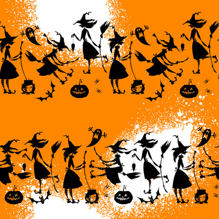 conjuring: Little conjuring witches. Witchcraft. Happy halloween. Seamless background pattern.