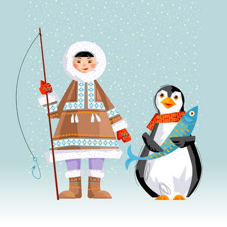 Eskimo Child holding a rod and a penguin with a fish. Christmas card. Vector illustration.