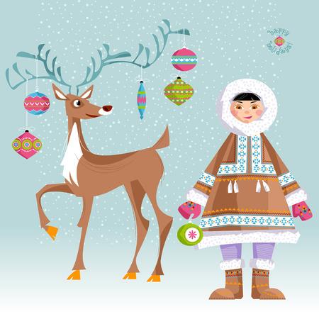 eskimos: Eskimo Child and a Christmas deer.  Vector illustration.