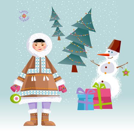 eskimos: Eskimo Child and a Snowman. Vector illustration.