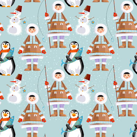 eskimos: Eskimo Child and a Snowman, a penguin with a fish. Seamless background pattern. Vector illustration
