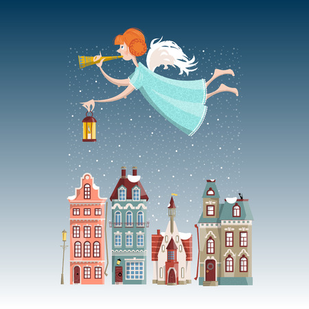 Christmas angel with trumpet and lamp flying over the winter city. Merry Christmas.  illustration
