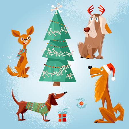 De vacaciones para los perros. Cuatro perros y el árbol de Navidad decorado con huesos. tarjeta de felicitación de Navidad. ilustración.