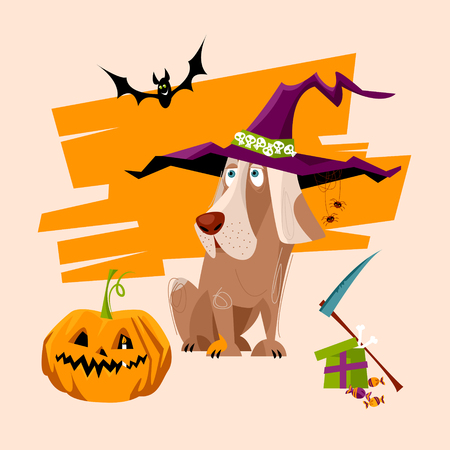 Dog wearing the witch hat with ghost and pumpkin. Holiday for dogs. Halloween style.  illustration.