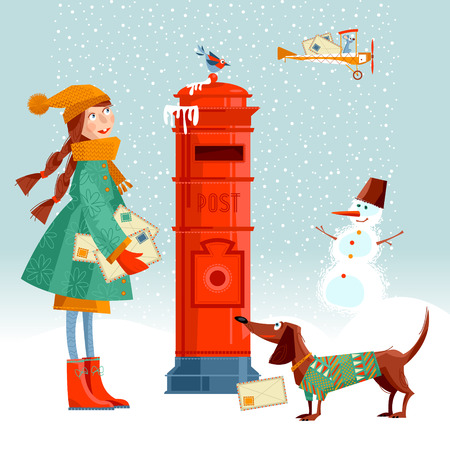 Little girl, and dachshund at the  post box sending  letters to Santa. Vintage Christmas greeting card. Vector illustration. Illustration