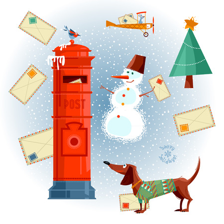 Vintage Mailbox, dachshund, snowman and letters to Santa. Christmas greeting card. Vector illustration. Illustration