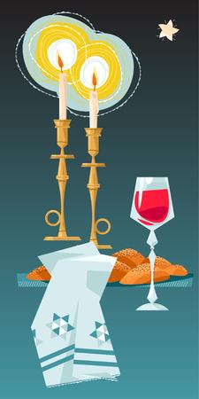 shalom: Shabbat shalom. Candles, kiddush cup and challah. Jewish Holiday. Vector illustration