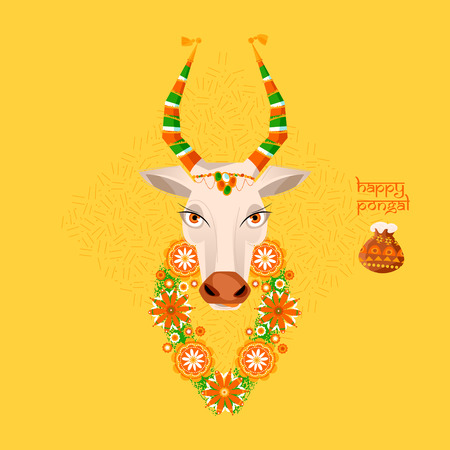 harvesting rice: Happy Pongal. Decorated cow and rice in traditional pot. Greeting card for Indian harvesting festival.