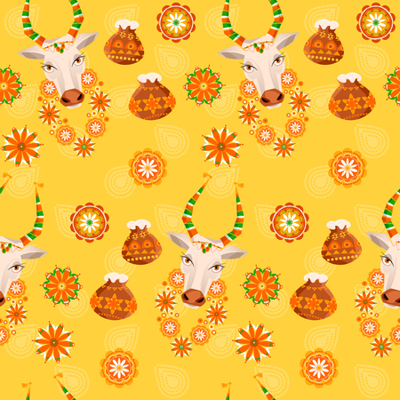 harvesting rice: Indian harvesting festival. Happy Pongal. Decorated cow and rice in traditional pot.