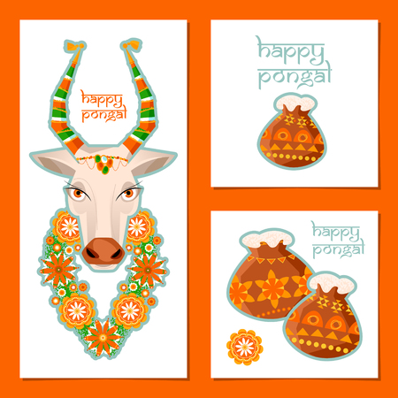 harvesting rice: Greeting card for Indian harvesting festival Pongal. Decorated cow and rice in traditional pot. Template.