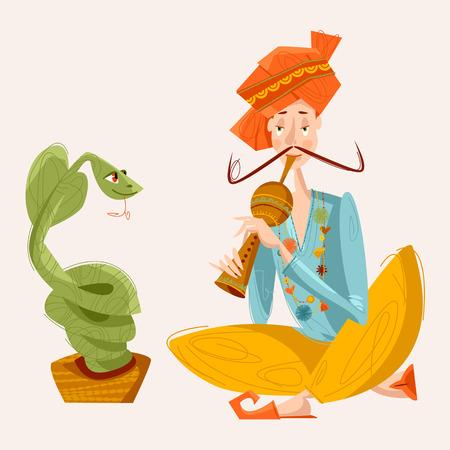 flauta: encantador de serpientes de la India. Ilustración del vector.