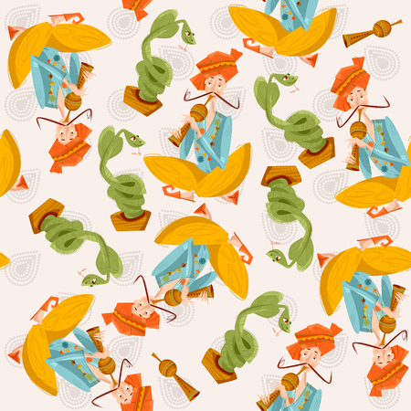 snake charmer: Indian snake charmer. Seamless background pattern. Vector illustration.