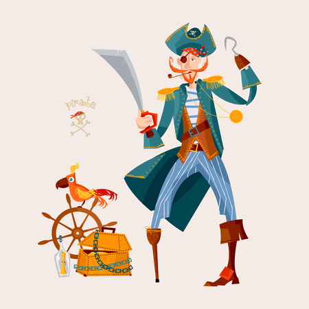 Pirate, wooden chest with gold, ships wheel and a parrot. Vector illustration Illustration