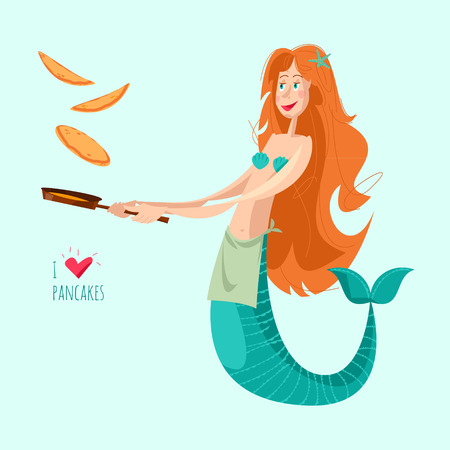 Mermaid tosses pancakes on a frying pan. Happy Pancake Day! Vector illustration