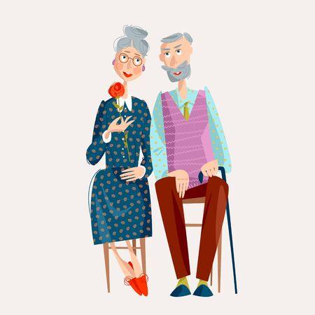 Elderly couple in love. Happy Grandparents day. Happy family concept. Vector illustration