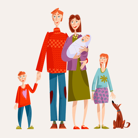 Big Family. Father, mother with the newborn, son, daughter and dog. Happy family concept. Vector illustration