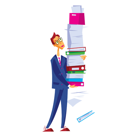 Office worker carries a large stack of papers and various folders. Vector illustration