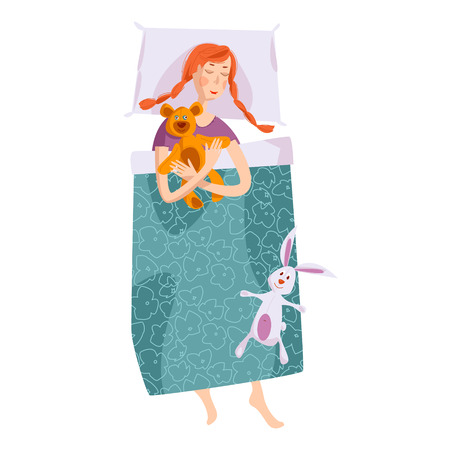 duvet: Sleeping little girl with a teddy bear and a toy hare. Good night. Sweet dreams. Vector illustration