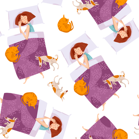 Sleeping girls with a cat and a dog. Good night. Sweet dreams. Seamless background pattern. Vector illustration
