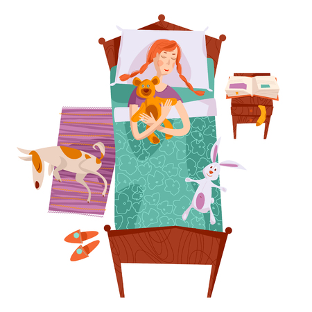 duvet: Sleeping little girl in a bed with a teddy bear and a toy hare. Sleeping  dog on a rug. Nursery room. Vector illustration Illustration