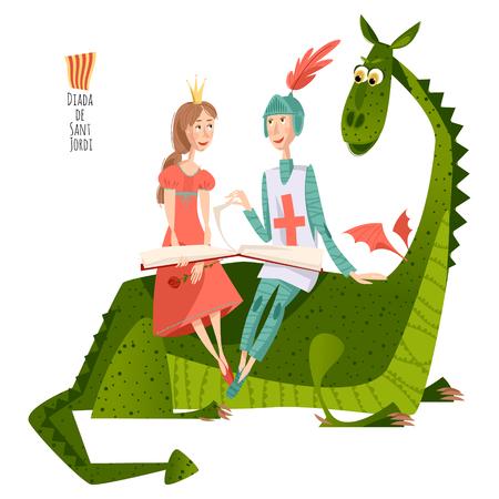 Princesa y caballero leen un libro que se sienta en una parte posterior de un dragon.Diada de Sant Jordi (Día de San Jorge). Día de la Rosa (El Día de la Rosa). Dia del Llibre (El Día del Libro). Fiesta tradicional en Cataluña, España. Ilustración del vector. Foto de archivo - 70973278