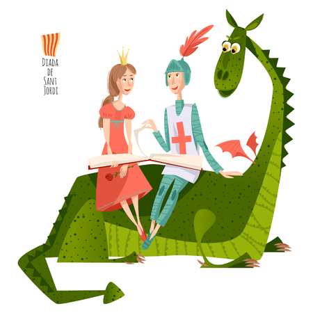Princess and knight read a book sitting on a back of a dragon.Diada de Sant Jordi (the Saint Georges Day). Dia de la rosa (The Day of the Rose). Dia del llibre (The Day of the Book). Traditional festival in Catalonia, Spain. Vector illustration.
