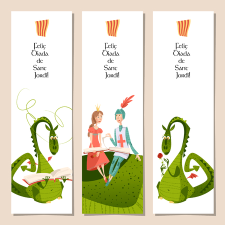 Set of universal bookmarks with princess, knight and dragons. Diada de Sant Jordi (the Saint George's Day). Congratulations. Template. Vector illustration Vettoriali