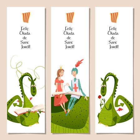Insieme dei segnalibri universali con la principessa, cavaliere e draghi. Diada de Sant Jordi (il giorno di San Giorgio). Complimenti. Modello. illustrazione di vettore Archivio Fotografico - 70973269