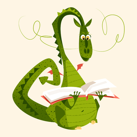 Dragon sitting and reading a book. Diada de Sant Jordi (the Saint George's Day). Traditional festival in Catalonia, Spain. Vector illustration. Stock Illustratie