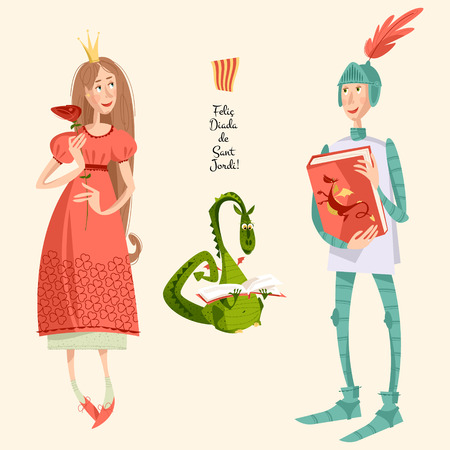 Princess with a rose, knight with a book and dragon reading a book.Diada de Sant Jordi (the Saint Georges Day). Dia de la rosa (The Day of the Rose). Dia del llibre (The Day of the Book). Traditional festival in Catalonia, Spain. Vector illustration. Çizim