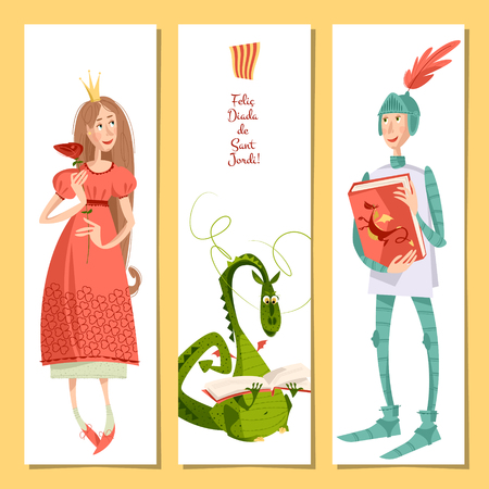 catalonia: Set of universal cards with princess, knight and dragon. Diada de Sant Jordi (the Saint Georges Day). Congratulations. Template. Vector illustration Illustration