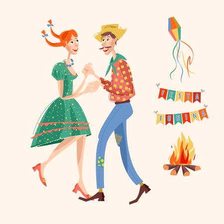 hick: Brazilian holiday Festa Junina (the June party). Couple dancing traditional dance. Vector illustration