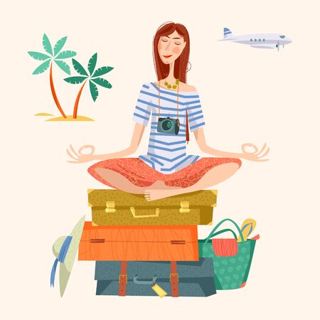 travel woman: Young woman sits on a stack of suitcases in a yoga lotus pose and meditates. Travel concept. Vector illustration