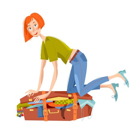 trying: Young woman sitting on overflowed suitcase and trying to close it. Preparing for journey. Travel concept. Vector illustration