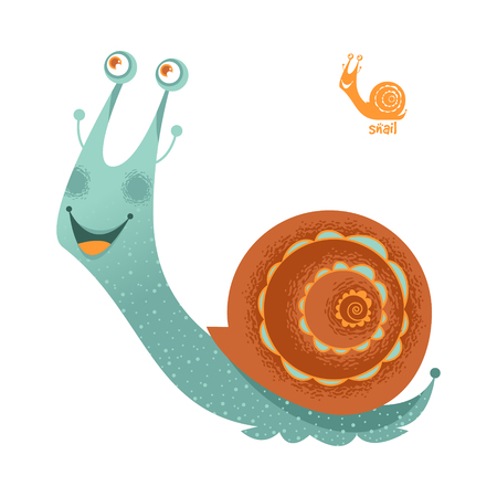 Smiling snail. Vector illustration Çizim