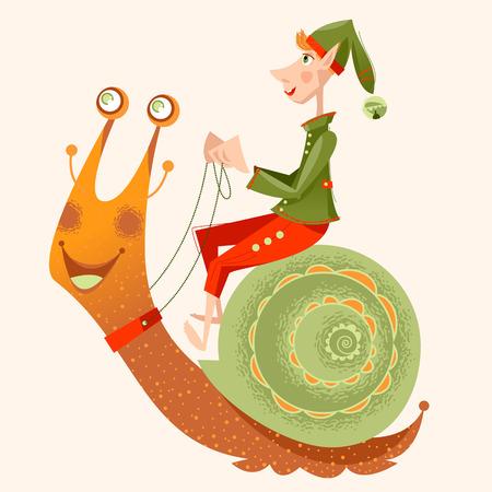 Little gnome riding a snail. Vector illustration Illustration
