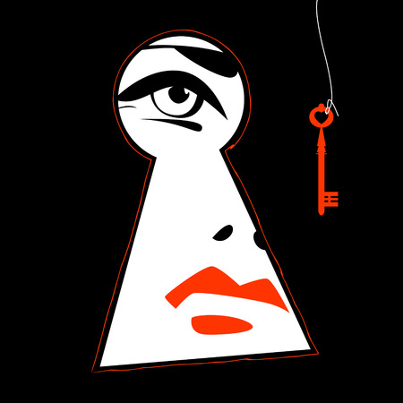 lady in red: Woman looking through a keyhole. Vector illustration
