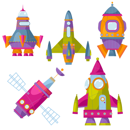 astronautics: Set of 5 multi-colored toy space rockets. Spaceships. Vector illustration Illustration